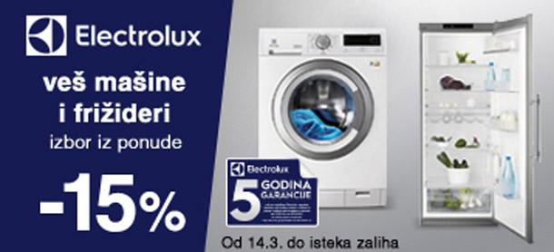 Kupi kvalitetno i uštedi: -15% Electrolux frižideri i veš mašine