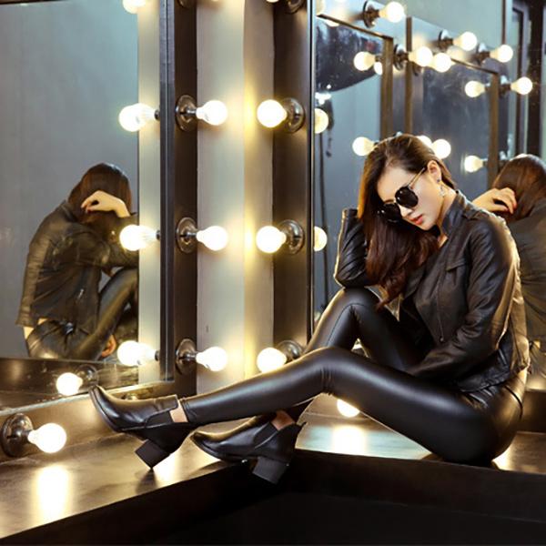 Trendy crne kožne helanke Korean Urban Style