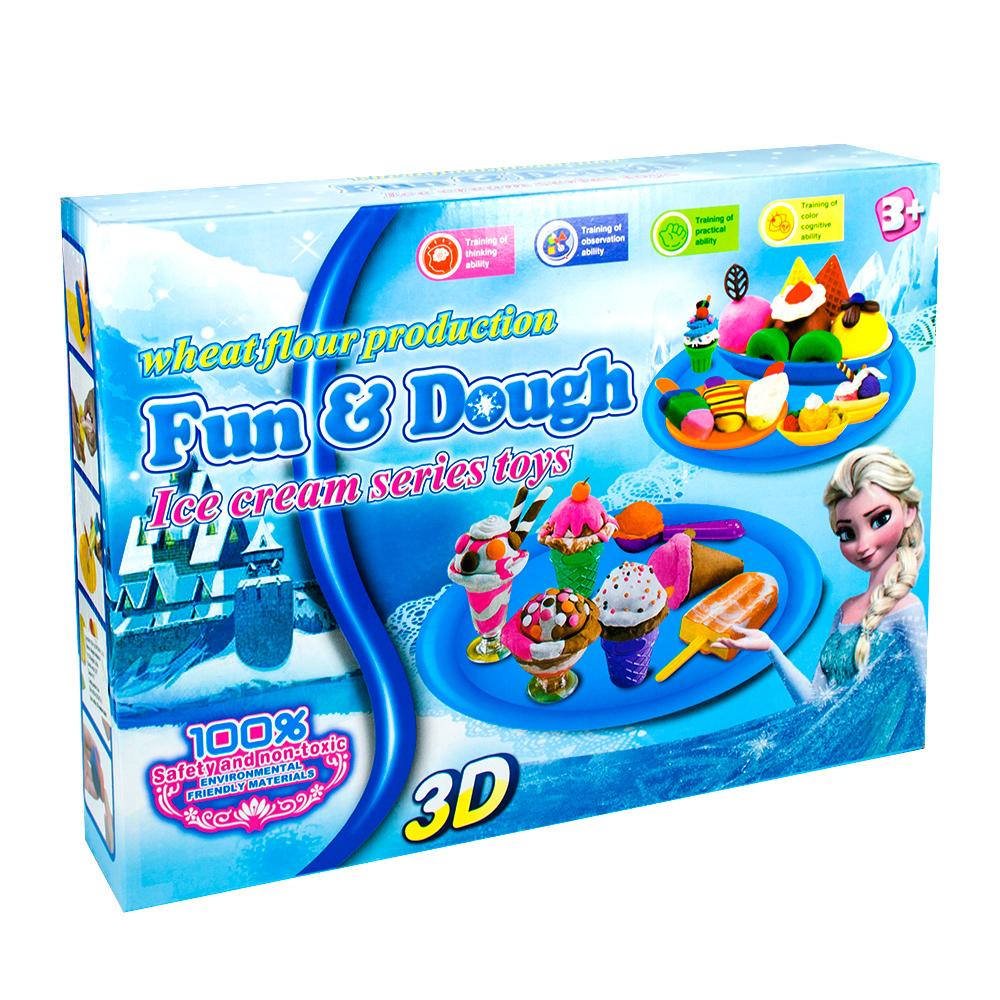 FUN & DOUGH čarobno testo - Plastelin za oblikovanje i igru - Set za pravljenje šarenih sladoleda