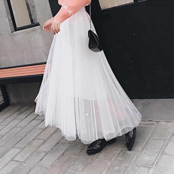 Lepršava duga letnja suknja - PEARL WHITE