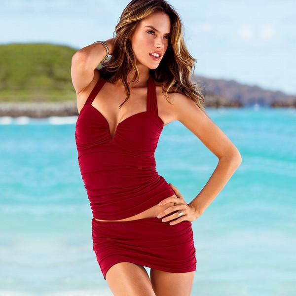 Trodelni ženski kupaći kostim - LA SKIRT BORDEAUX