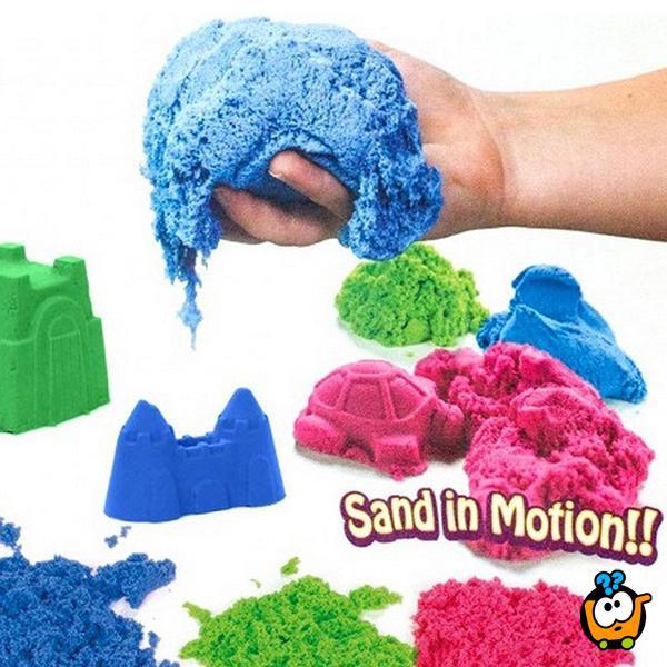 Kinetički pesak u boji za igru - Set od 2000g peska + Modle + Koferče
