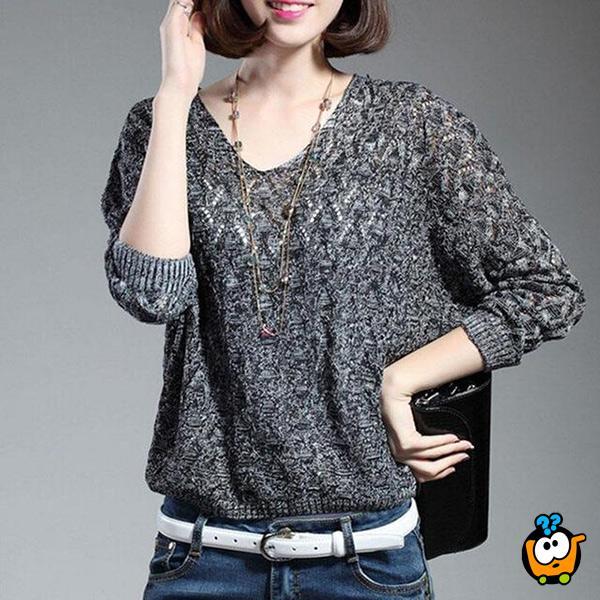 Crni moderni ženski džemper - Šik rukavi