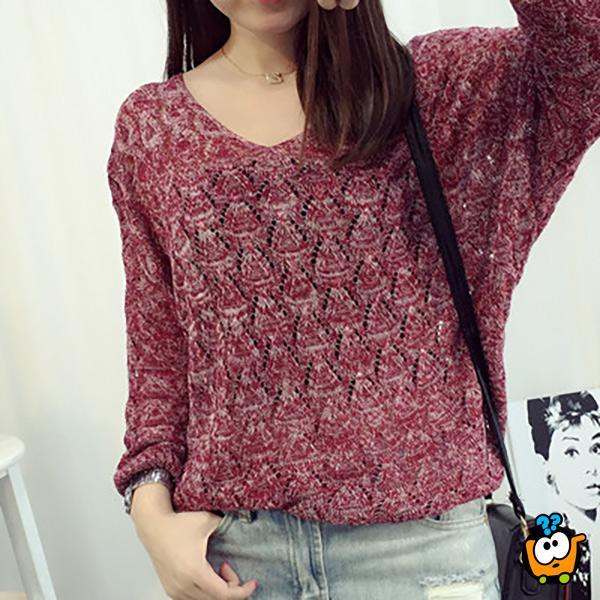Crveni moderni ženski džemper - Šik rukavi