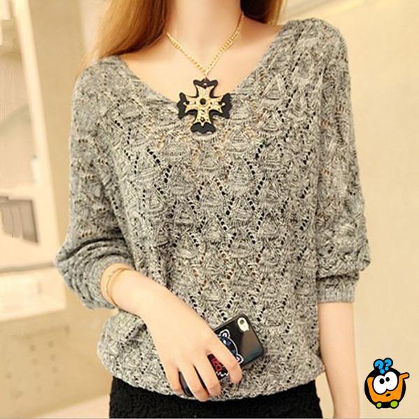 Sivi moderni ženski džemper - Šik rukavi