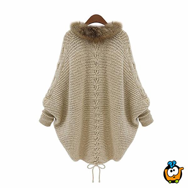 Džemper kardigan sa krznom i šik rukavima