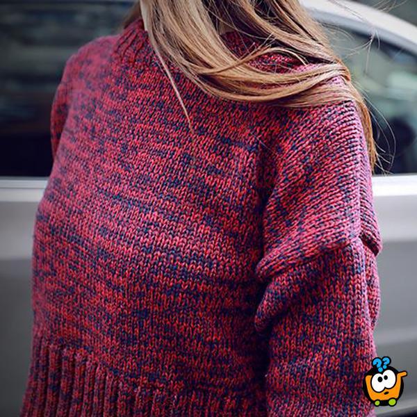 Komplet zimska suknja i džemper u crveno-teget boji