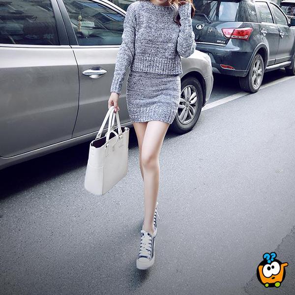 Komplet zimska suknja i džemper u sivoj boji