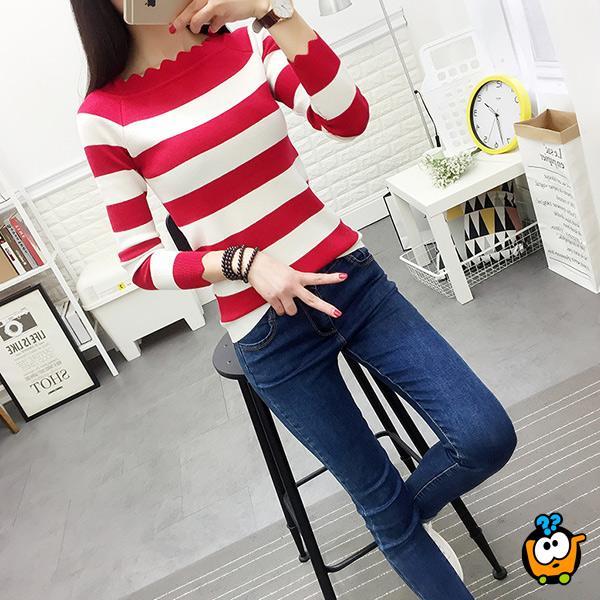 Prugasti cik cak džemper - Crveno beli
