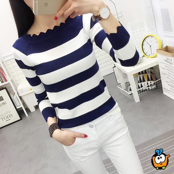 Prugasti cik cak džemper - Teget beli
