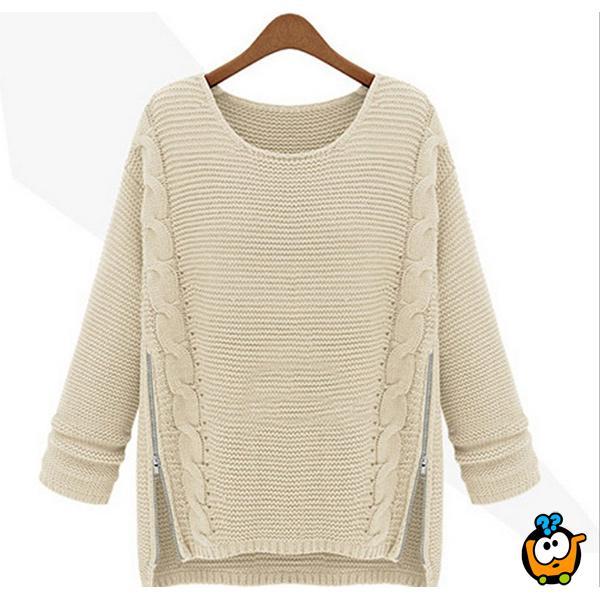 Ženski bež džemper sa okruglim izrezom