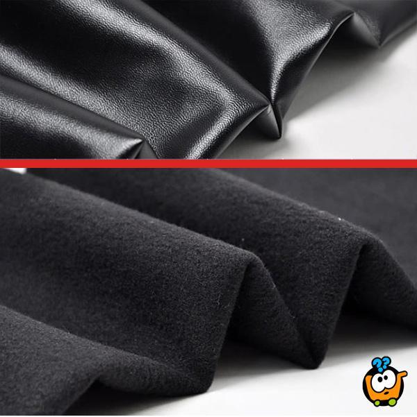 Trendy zimske crne kožne helanke