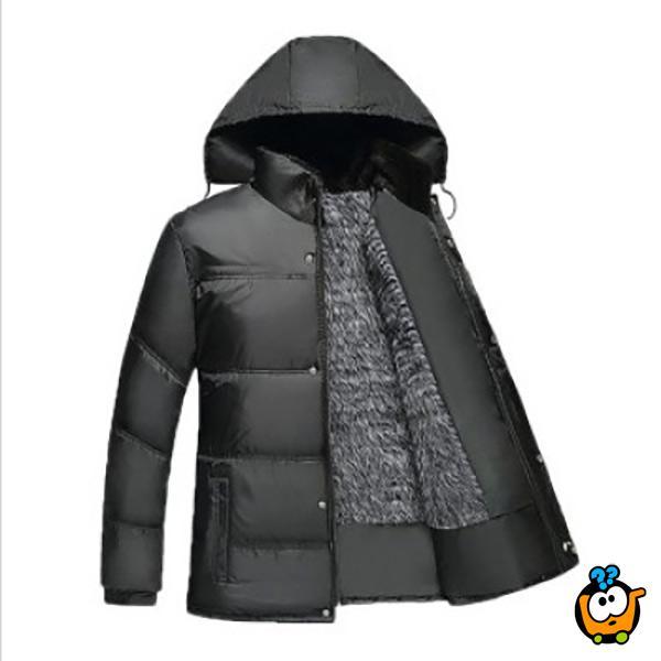 Zimska muška štepana jakna u crnoj boji