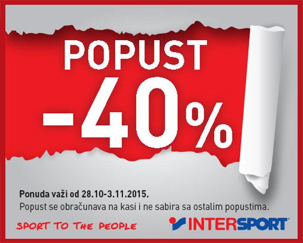 INTERSPORT - 40% na određene artikle tekstila i obuće!