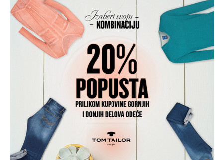 Sniženje na određene kombinacije u prodavnici Tom Tailor!