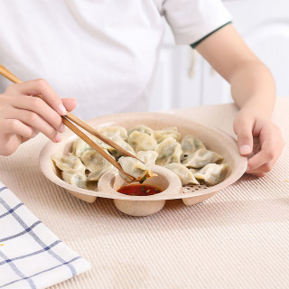 Okrugli plato sa cediljkom i činijom za sos - za zdravije jelo
