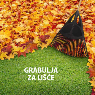 Plastična grabulja sa drvenom drškom za lišće i travu