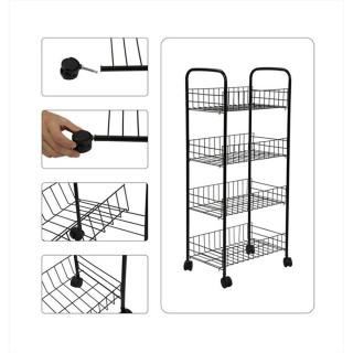 Metalna kolica na točkiće za skladištenje namernica - Crna