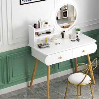 Toaletni stočić za šminkanje sa LED ogledalom na dodir - WHITE WOOD