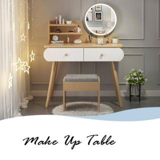 Toaletni stočić za šminkanje sa LED ogledalom na dodir - WOOD COLOR