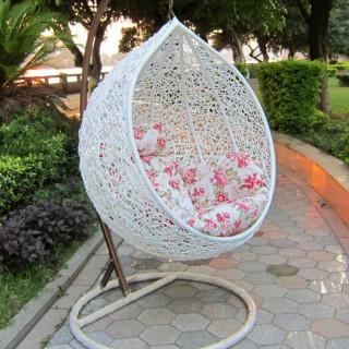 Garden Egg - Baštenska ljuljaška od pletenog ratana u obliku jajeta - WHITE