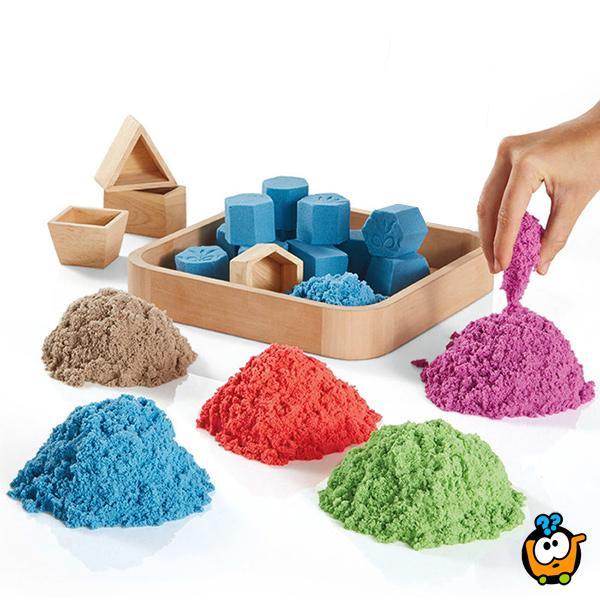 Magični kinetički pesak u boji za igru - BIG Set od 3000g peska + Modle + Posude