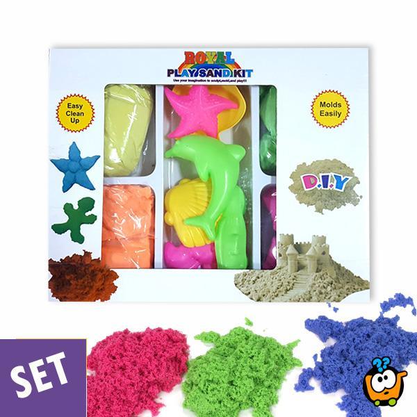 Magični kinetički pesak u boji za igru - Set od 1000g peska + modle