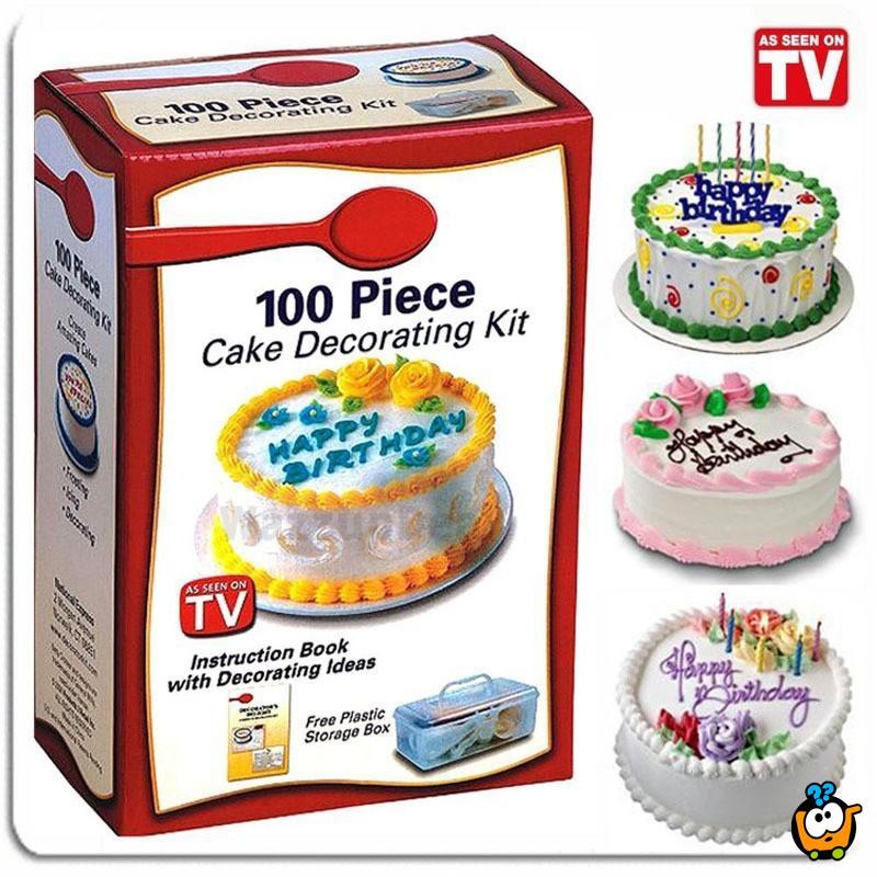 Set od 100 delova za ukrašavanje torte