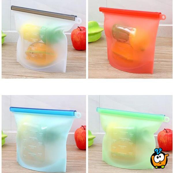 Silikonska kesica sa zipom za održavanje svežine hrane