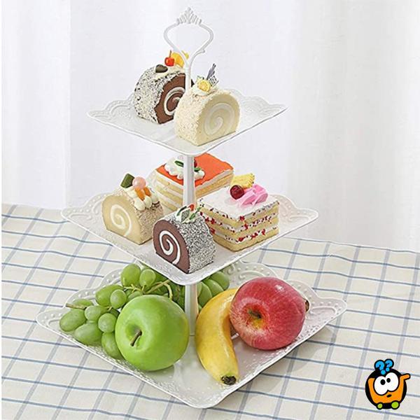 Dekorativna tacna za kolače na 3 nivoa