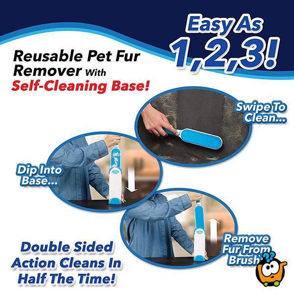 Hurricane Fur Wizard - dvostruka četka za uklanjanje dlaka sa bazom za instant čišćenje