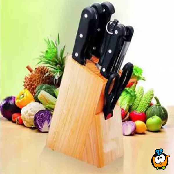 Set kuhinjskuh sečiva sa drvenim stalkom za skladištenje