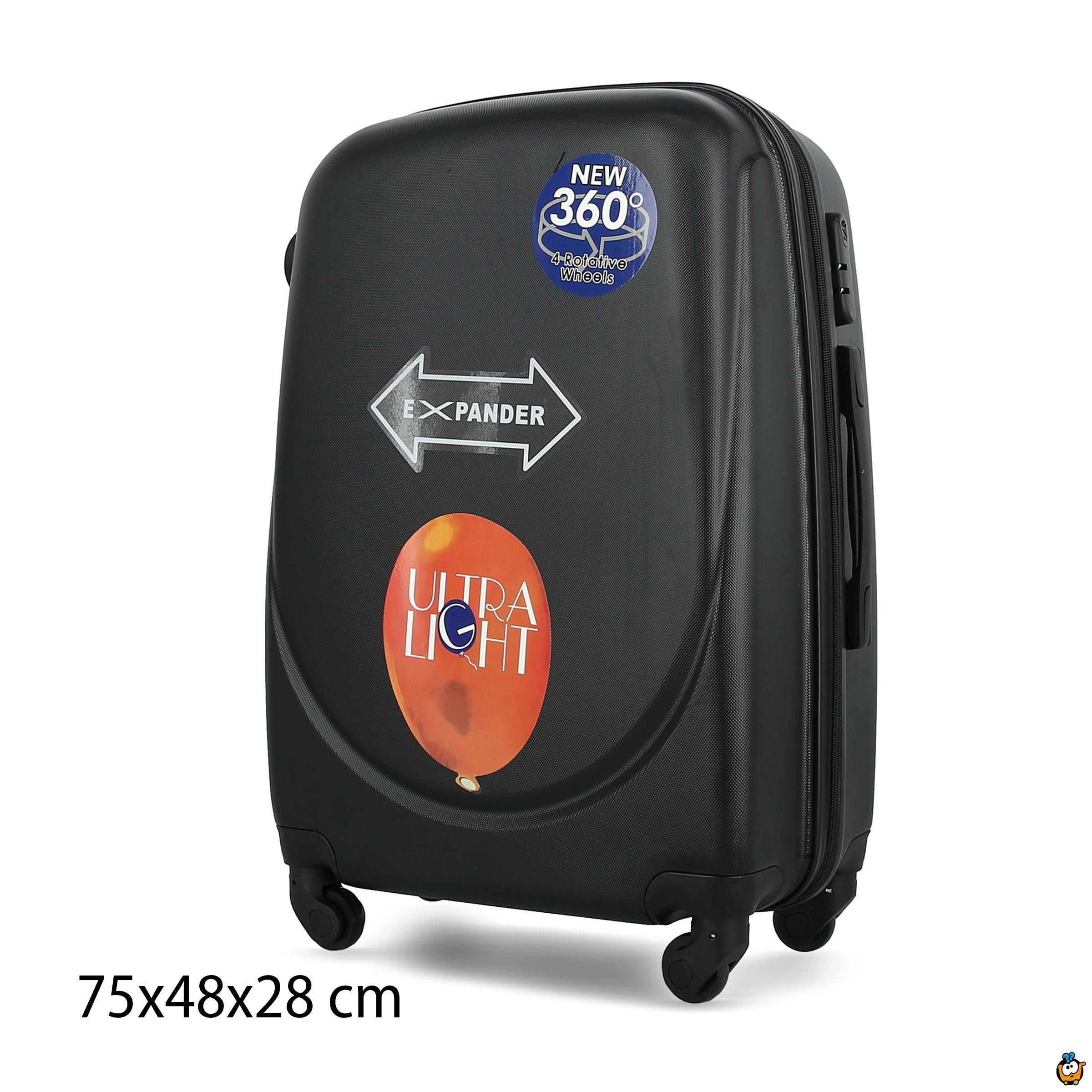 Putni kofer Expandable sa točkićima 360° -  CRNI XL