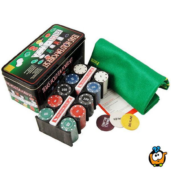 Texas Hold'em Poker set u limenoj kutiji
