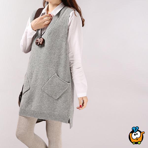 Tunika džemper za sve prilike u svetlo sivoj boji