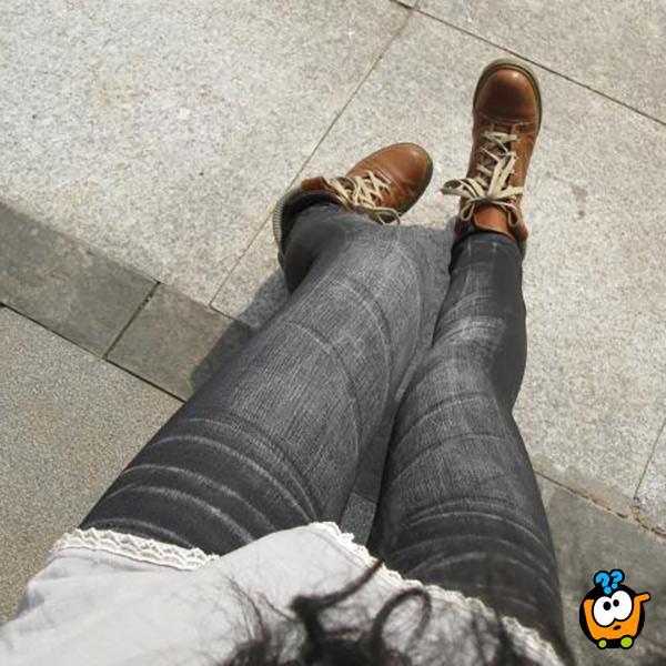Teksas helanke - Jeans u crnoj boji sa elastinom