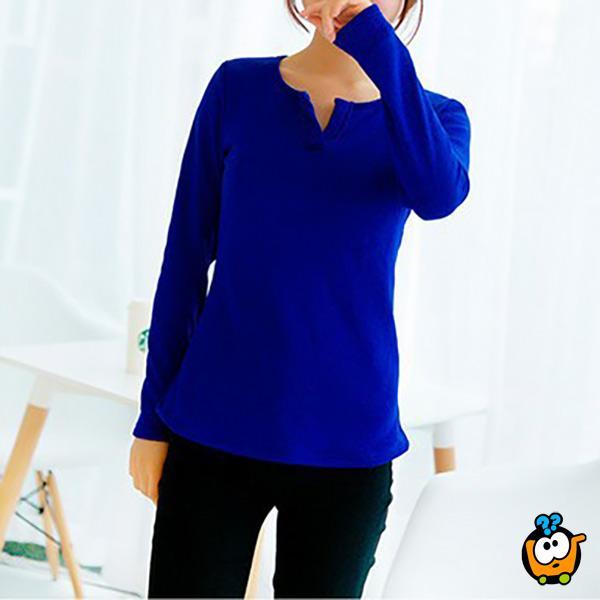 Bluzica sa V izrezom u kraljevsko plavoj boji