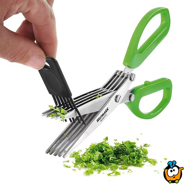 Petostruke kuhinjske makaze za pripremu začina + dodatak za čišćenje makaza