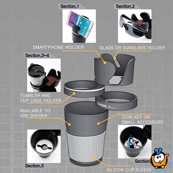 5 u 1 Multifunkcionalni držač čaša za automobil