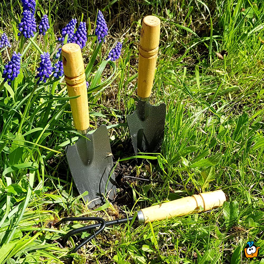Trodelni set za baštu - ašov, grabulja i lopata