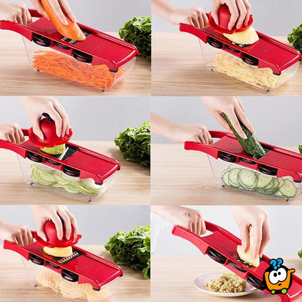 6u1 secko i rende sa posudom za povrće i voće
