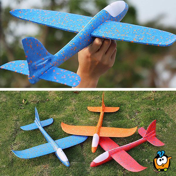 Svetleći Avion BIG 48 cm - Izrađen od specijalne pene koji se ručno baca
