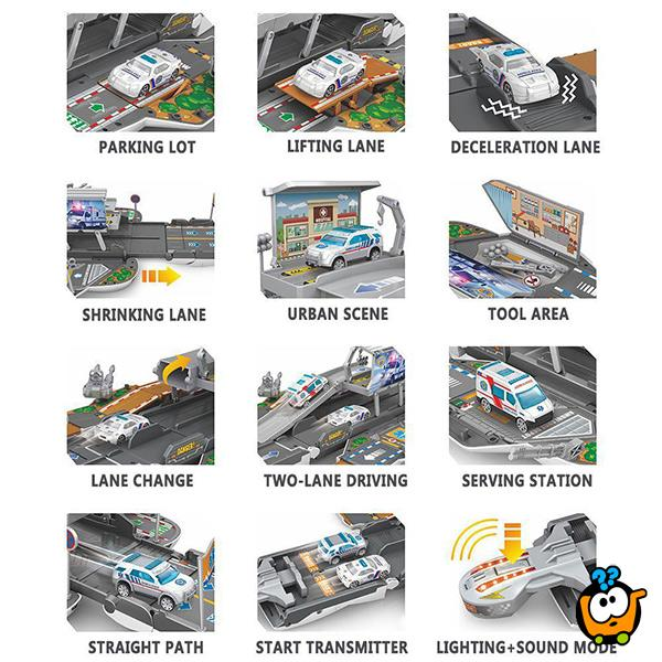 Race track Ambulance Set - Rasklopivi autić garaža