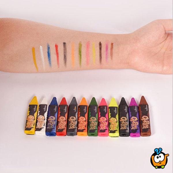 Olovke za oslikavanje lica i tela – Set od 12 bojica za crtanje maski na koži