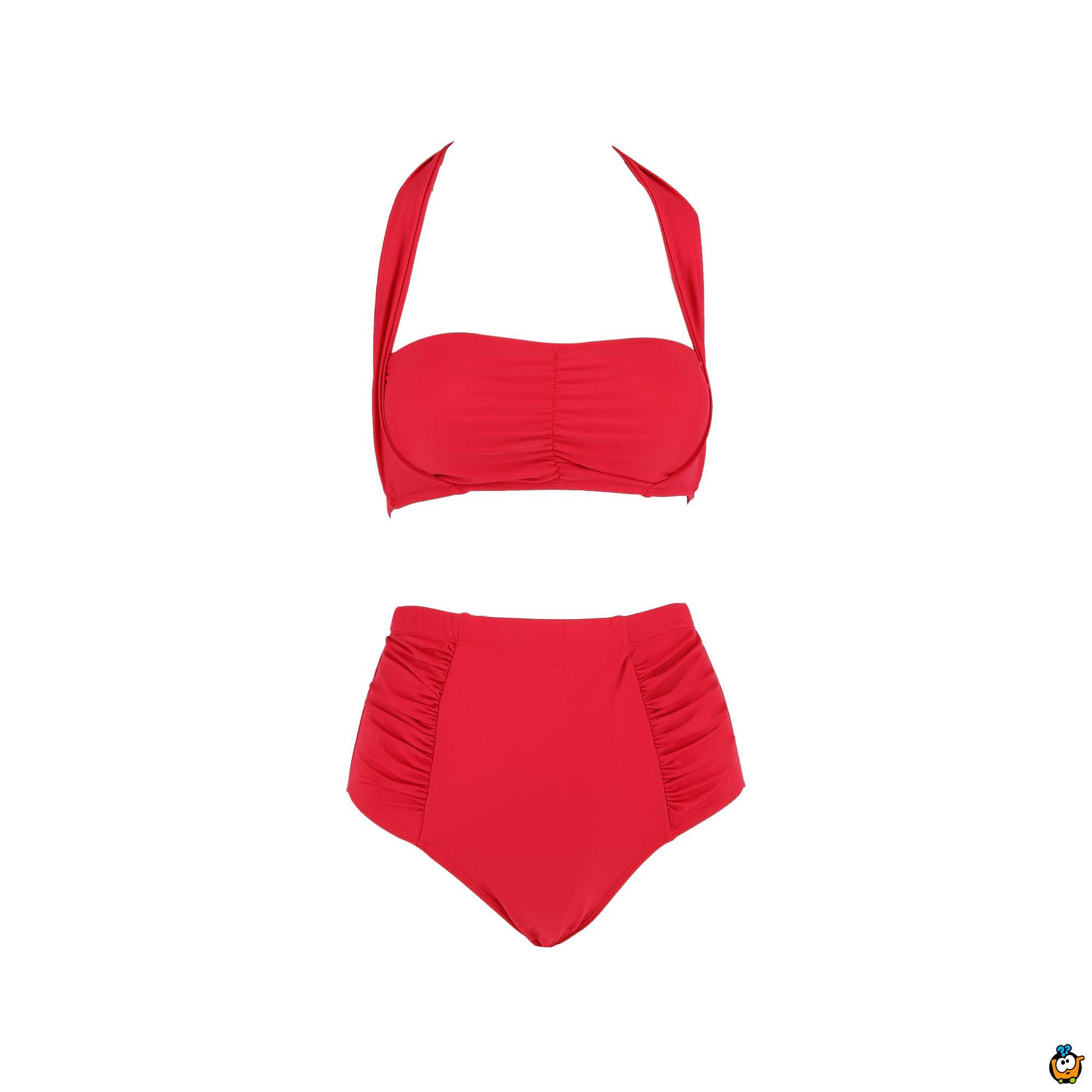 Dvodelni ženski kupaći kostim - PLUS SIZE - CLASSIC RED