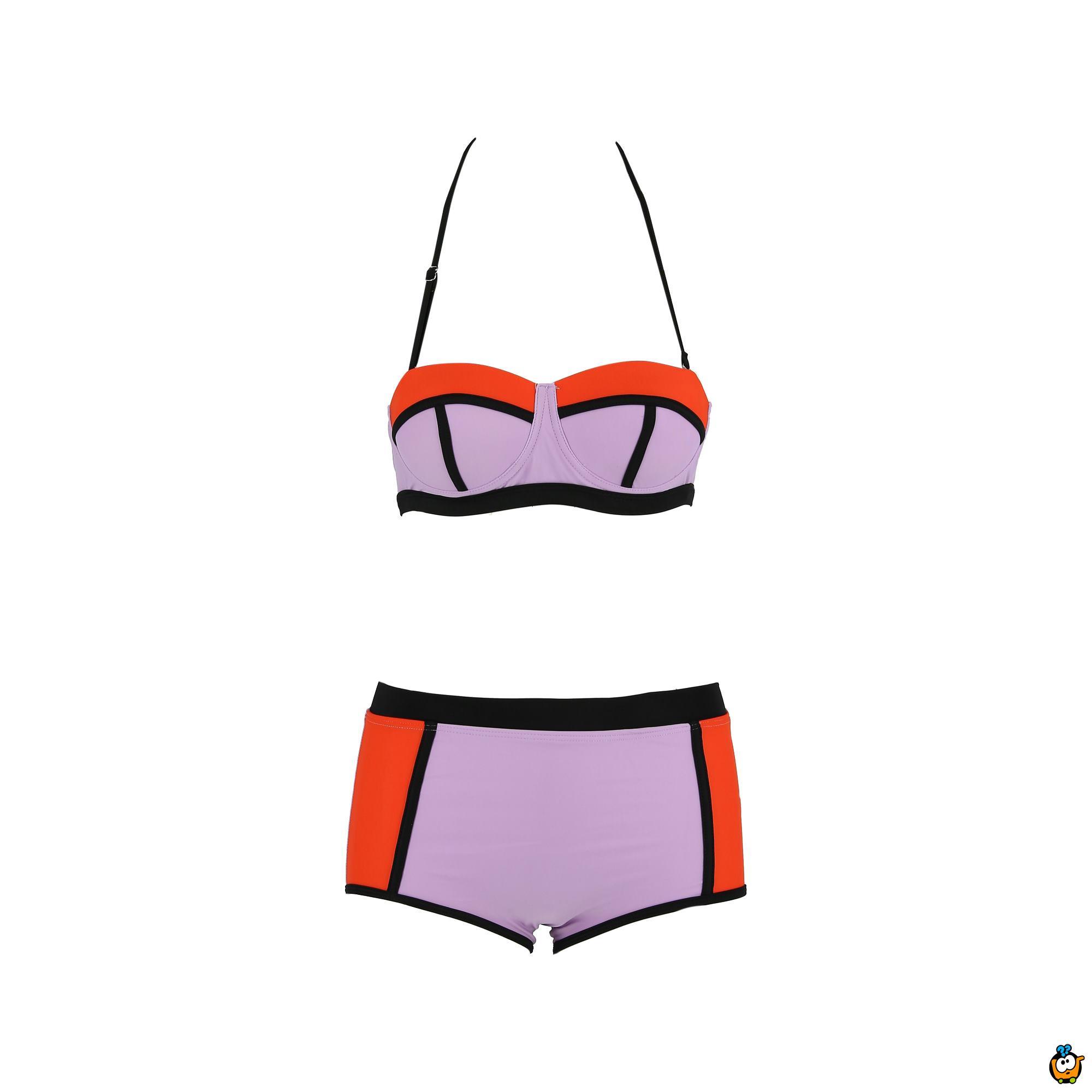 Dvodelni ženski kupaći kostim - LINES MIX ORANGE
