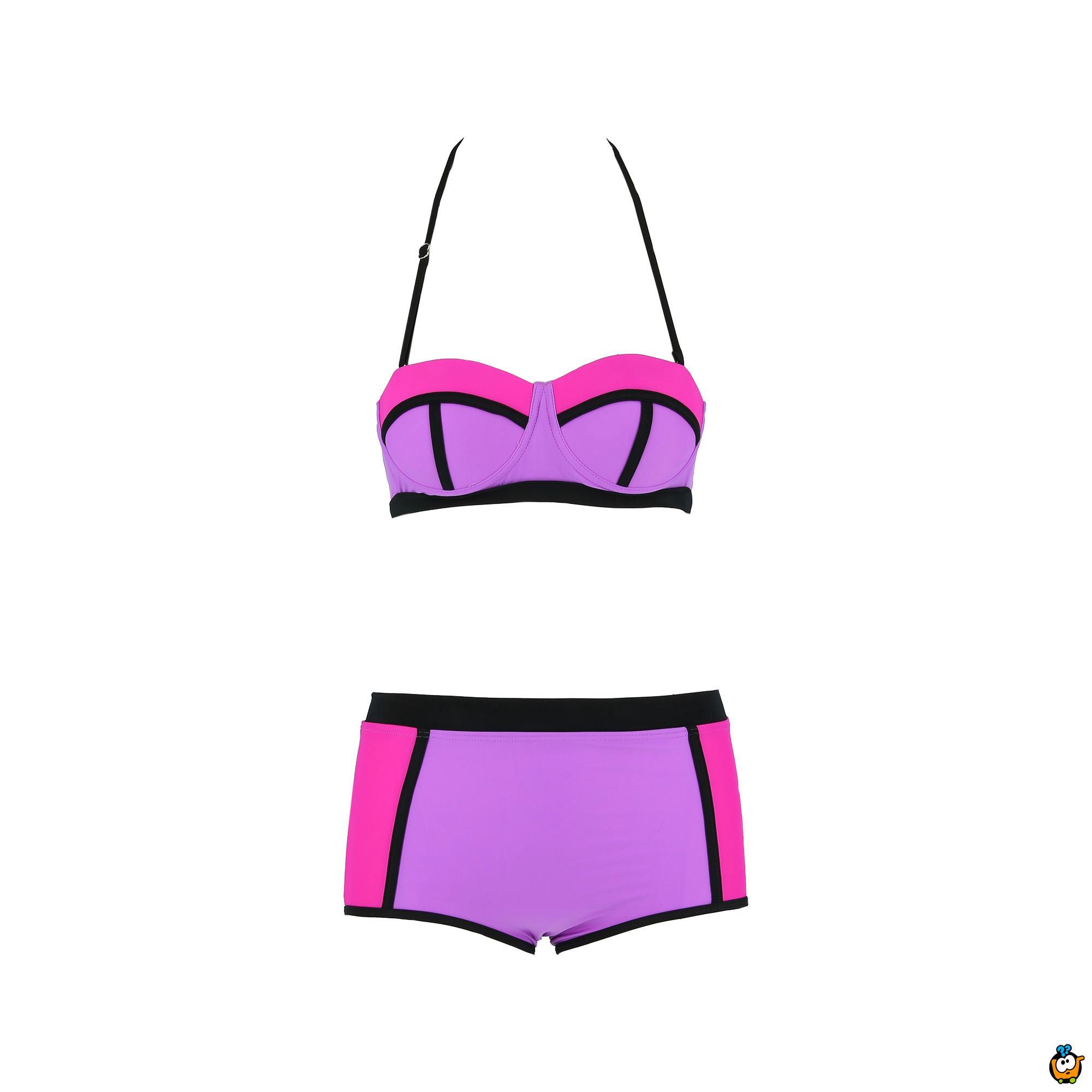 Dvodelni ženski kupaći kostim - LINES MIX PINK