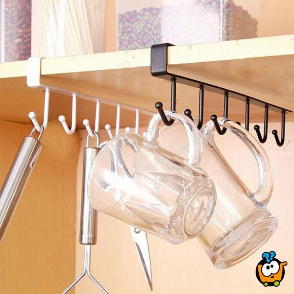 Metalni viseći stalak sa 6 kukica
