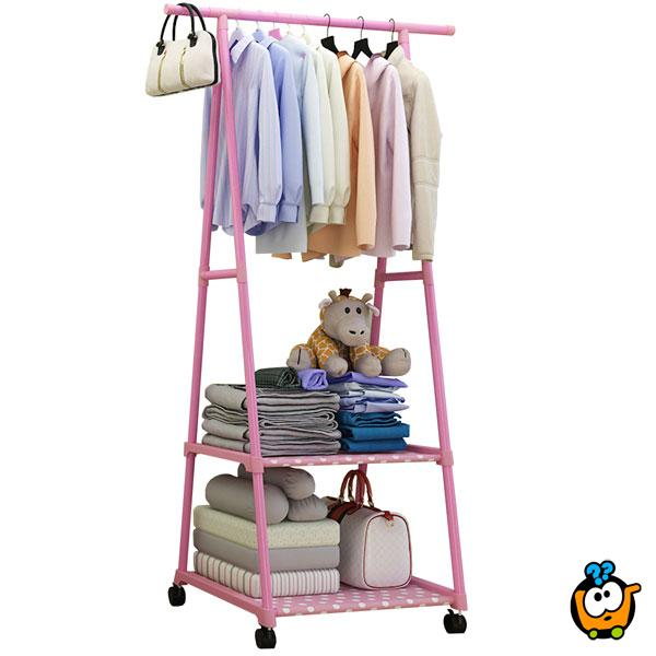 Pokretni štender za garderobu sa policama