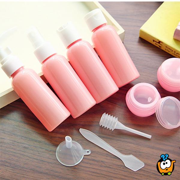 Devetodelni set flašica za ličnu higijenu